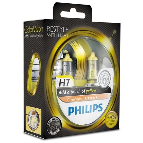 KOMPLET 2x Avto žarnica Philips COLOR VISION 12972CVPYS2 H7 PX26d /55W/12V