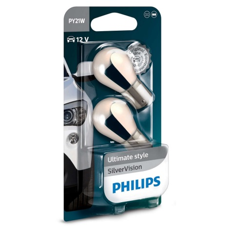 KOMPLET 2x Avto žarnica Philips SILVER VISION 12496SVB2 PY21W BAU15s/21W/12V