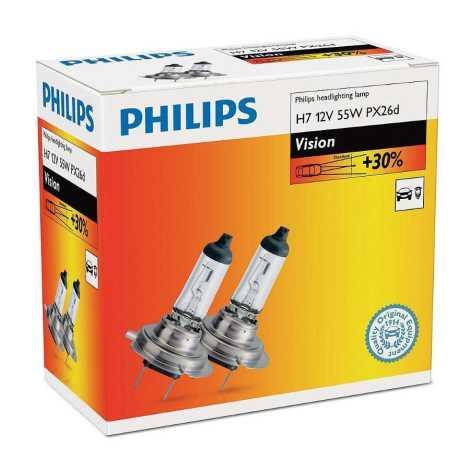 KOMPLET 2x Avtožarnica Philips VISION 12972PRC2 H7 PX26d/55W/12V