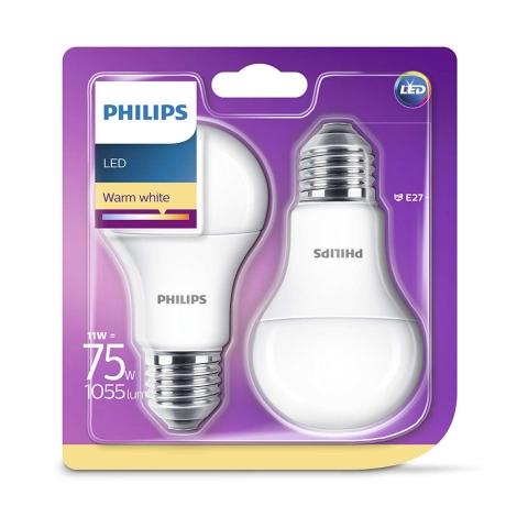 KOMPLET 2x LED žarnica Philips E27/11W/230V