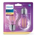 KOMPLET 2x LED Žarnica VINTAGE Philips E27/7W/230V 2700K