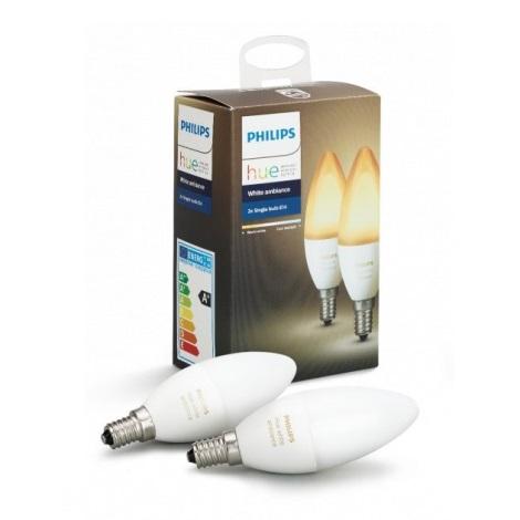 KOMPLET 2x LED Zatemnitvena žarnica Philips HUE WHITE AMBIANCE E14/6W/230V