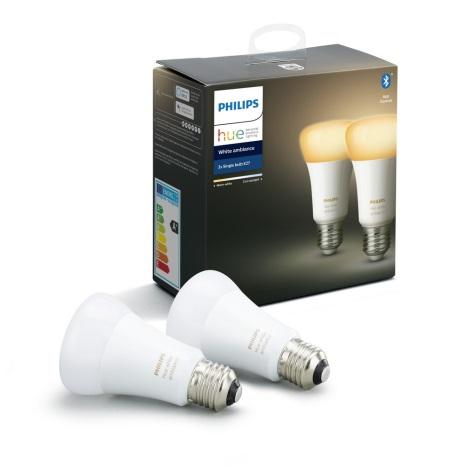 KOMPLET 2x LED Zatemnitvena žarnica Philips HUE WHITE AMBIANCE E27/8,5W/230V