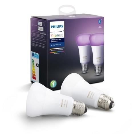 KOMPLET 2x LED Zatemnitvena žarnica Philips HUE WHITE AND COLOR AMBIANCE E27/9W/230V