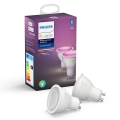 KOMPLET 2x LED Zatemnitvena žarnica Philips HUE WHITE AND COLOR AMBIANCE GU10/5,7W/230V