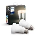 KOMPLET 2x LED Zatemnitvena žarnica Philips HUE WHITE E27/9W/230V