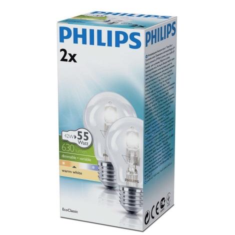 KOMPLET 2x Zatemnitvena halogenska žarnica E27/42W/230V - Philips