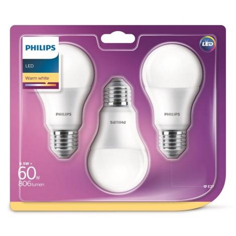 KOMPLET 3x LED Žarnica Philips A60 E27/8,5W/230V