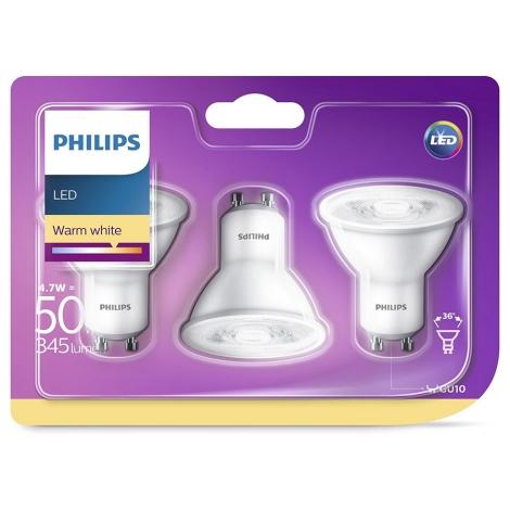 KOMPLET 3x LED Žarnica Philips GU10/4,7W/230V