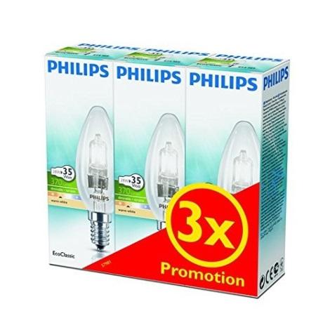 KOMPLET 3x Zatemnitvena halogenska žarnica Philips E14/28W/230V