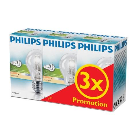 KOMPLET 3x Zatemnitvena halogenska žarnica Philips E27/28W/230V