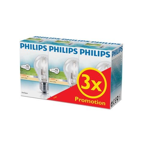 KOMPLET 3x Zatemnitvena halogenska žarnica Philips E27/70W/230V
