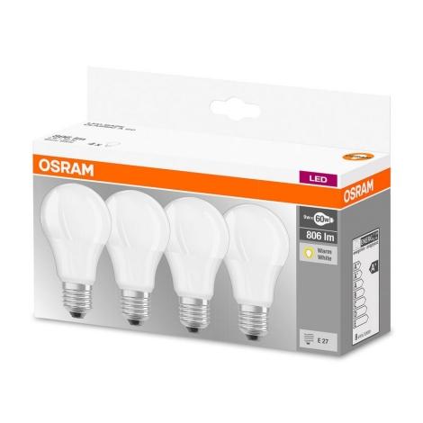 KOMPLET 4x LED Žarnica A60 E27/9W/230V 2700K - Osram