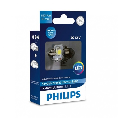 LED Avto žarnica Philips X-TREME ULTINON 129404000KX1 LED C5W/12V 4000K