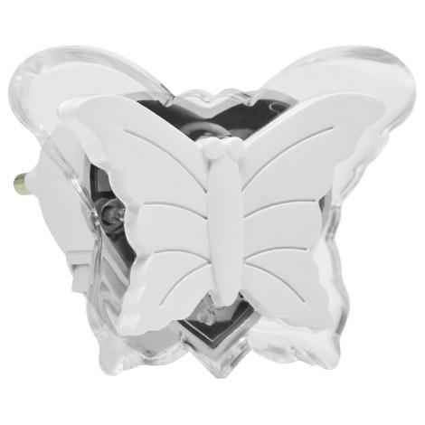 LED Nočna luč v vtičnico LED/0,4W/230V bela metulj