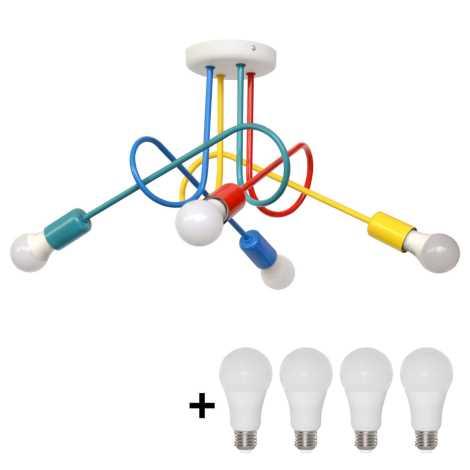 LED Otroški nadgradni lestenec OXFORD 4xE27/10W/230V