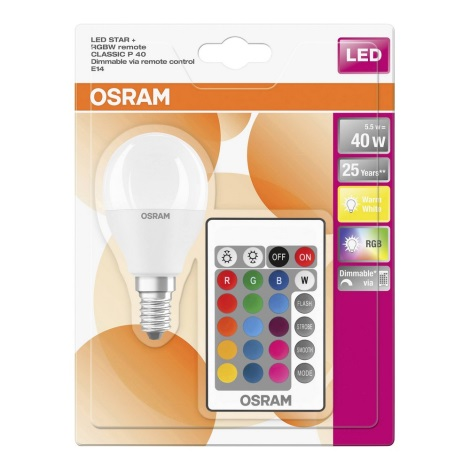 LED RGB Zatemnitvena žarnica E14/5,5W/230V - Osram