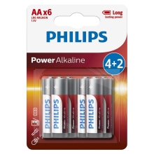 Philips LR6P6BP/10 - 6 kom Alkalna baterija AA POWER ALKALINE 1,5V