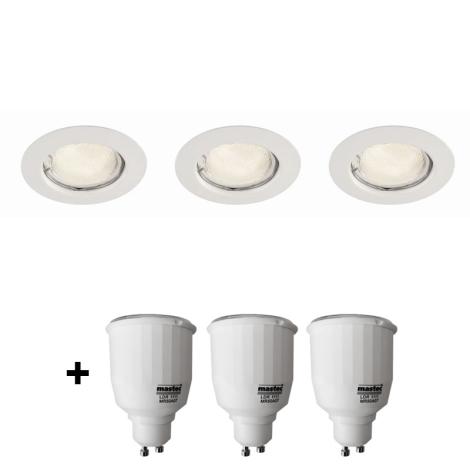 Philips Massive 59383/31/19 - KOMPLET 3x Vgradni reflektor + 3x varčna žarnica 7W